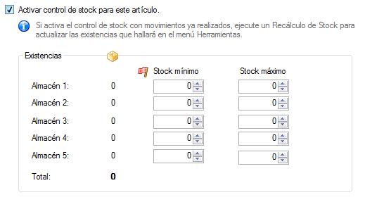 Stock: Mínimos y Máximos