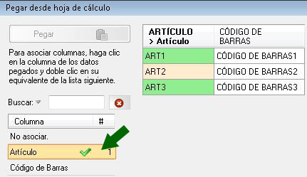 Haga clic en la columna que desee asociar, y doble clic en la lista de campos de la derecha para asociarla.